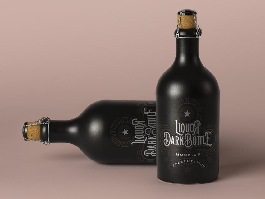 Dark Liquor Bottle Psd Mockup