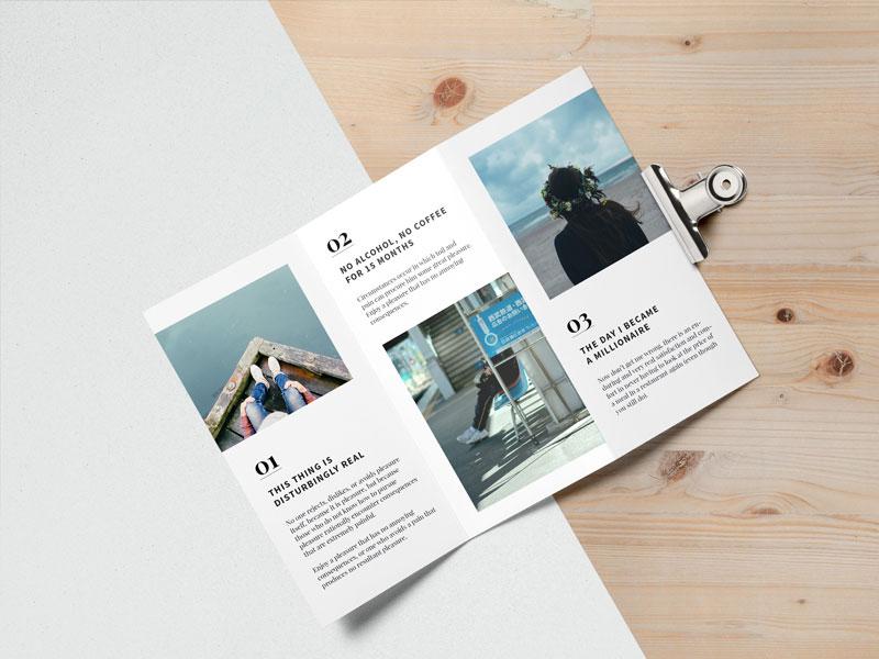 Editorial Tri Fold Brochure MockUp
